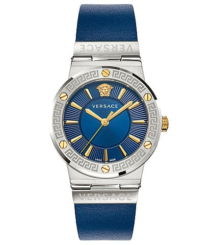 Versace Women's Greca Logo Blue Leather Watch