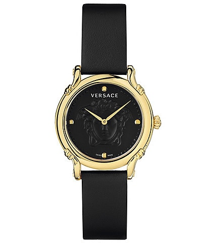 Versace Women's Medusa Black Leather Watch