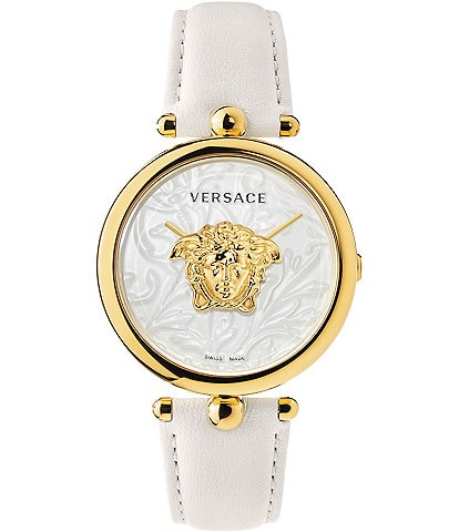 Versace Women's Palazzo Empire Barocco White Leather Watch