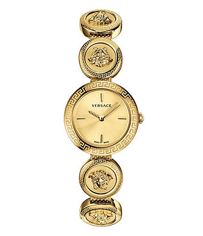 Versace Women's Swiss Medusa Stud Icon Gold-Tone Stainless Steel Bracelet Watch