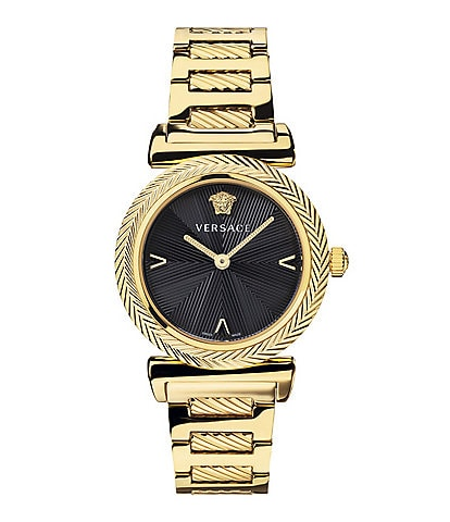 Versace Women's Swiss V Motif Gold Bracelet Watch