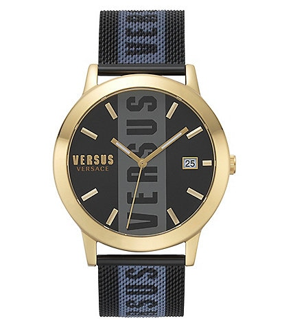 Versus by Versace Barbes Quartz Analog Stripe Black Mesh Bracelet Watch