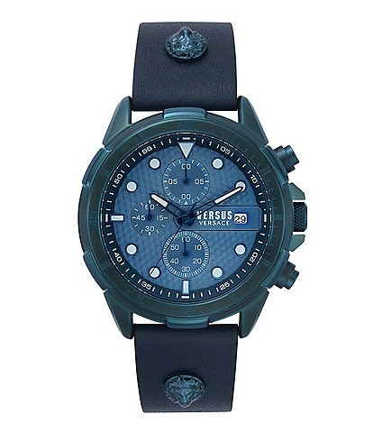 Versus by Versace Men's 6e Arrondissement Blue Leather Watch