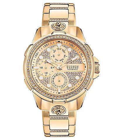 Versus Versace Men's Arrondissement Gold-Tone Stainless Steel Multifunction Bracelet Watch
