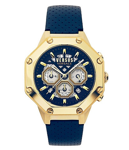 Versus By Versace Men's Kowloon Park Chronograph Blue Leather Watch