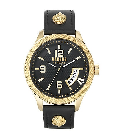 Versus by Versace Men's Reale Black Leather Watch