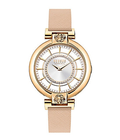 Versus Versace Silver Lake Leather Strap Watch