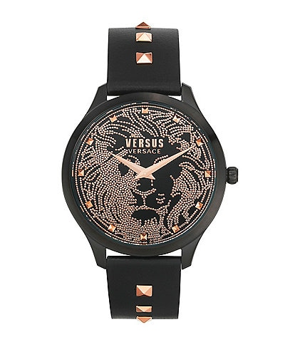 Versus by Versace Women's Domus Black Leather Watch