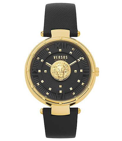 Versus by Versace Women's Moscova Black Leather Watch