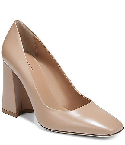 Via Spiga Beatrice Leather Block Heel Pumps
