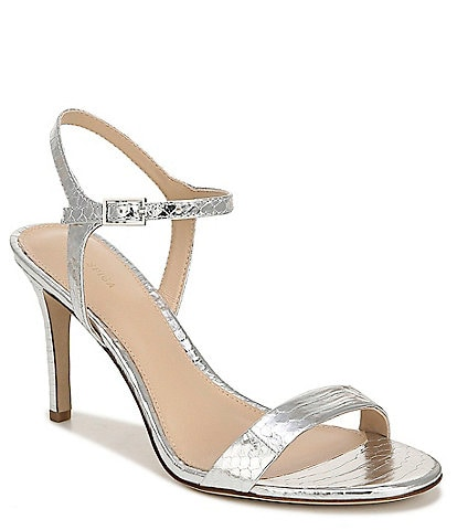 Via Spiga Madeleine Snake Print Metallic Leather Dress Sandals
