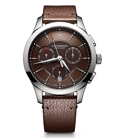 Victorinox Swiss Army Alliance Chronograph   Date Leather-Strap Watch 73487e288c