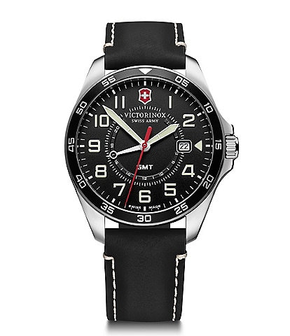 Victorinox Swiss Army Field Force Black Leather Strap Multifunction Watch