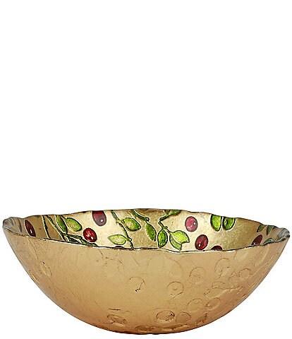 VIETRI Cranberry Glass Gold Cereal Bowl