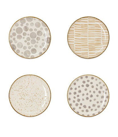 VIETRI Earth Assorted Cocktail Plates Set of 4