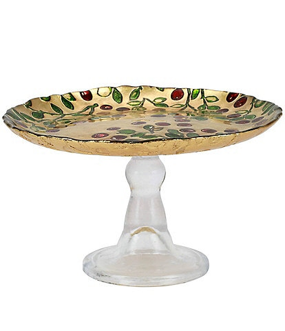 VIETRI Holiday Cranberry Glass Small Footed Cake Stand