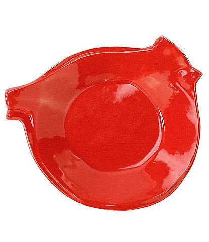 VIETRI Lastra Holiday Figural Red Bird Canape Plate