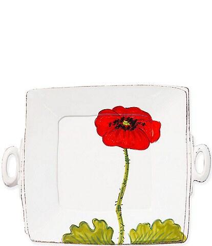 VIETRI Lastra Poppy Handled Square Platter