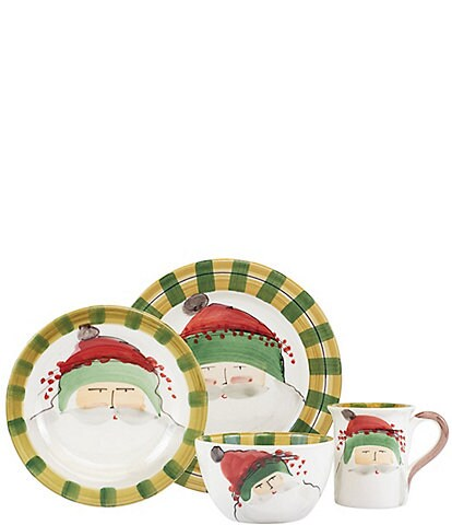VIETRI Old St. Nick Green Hat 4-Piece Place Setting