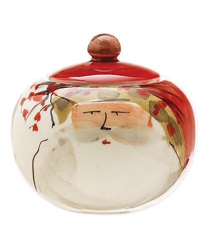 VIETRI Old St. Nick Hand-Painted Sugar Bowl with Lid