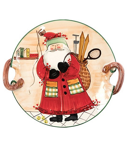VIETRI Old St.Nick Sports Handled Round Platter