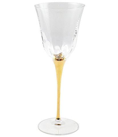 VIETRI Optical Gold Stem Water Glass