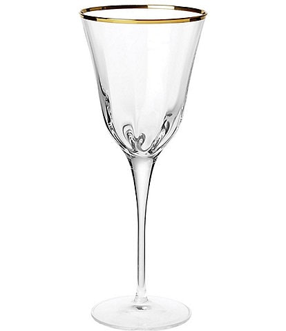 VIETRI Optical Gold Stem Wine Glass