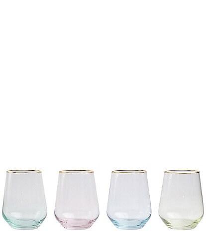 VIETRI Rainbow Assorted Stemless Wine Glass Set of 4