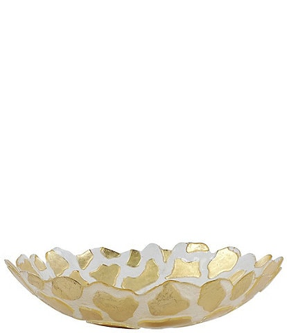 VIETRI Rufolo Glass Gold Giraffe Medium Shallow Bowl