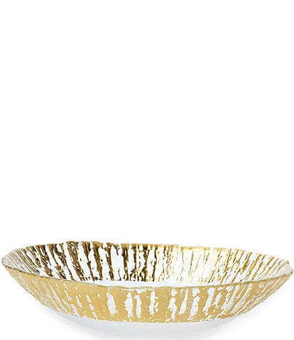 Vietri Rufolo Glass Gold Medium Oval Serving Bowl