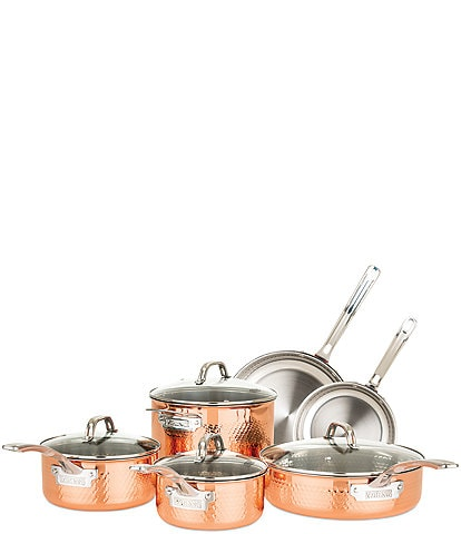 Viking 3-Ply Stainless Steel Copper Clad Hammered, 10 Piece Cookware Set