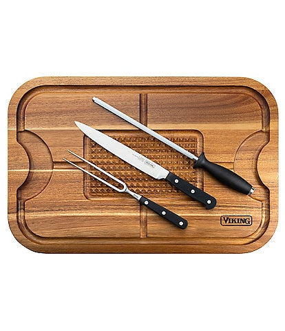 Viking Acacia Wood Cutting Board with 3-Piece German Steel Carving Set