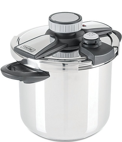 Viking Easy Lock 8.0-Quart Stainless Steel Clamp Pressure Cooker with Steamer