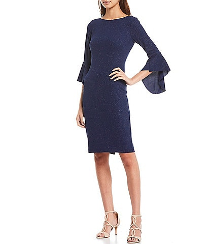 Vince Camuto 3/4 Bell Sleeve Glittered Sheath Dress