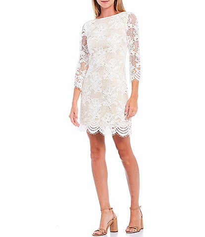 Vince Camuto 3/4 Illusion Sleeve Lace Scallop Hem Cotton Blend Shift Dress