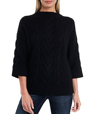 Vince Camuto 3/4 Sleeve Cable Stitch Sweater