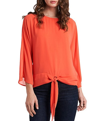 Vince Camuto 3/4 Sleeve Chiffon Tie Front Blouse