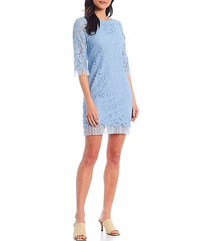 Vince Camuto 3/4 Sleeve Clip Dot Trim Lace Shift Dress