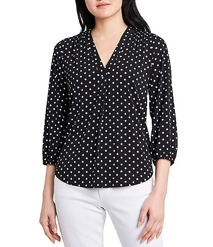 Vince Camuto 3/4 Sleeve Polka Dot Knit Top