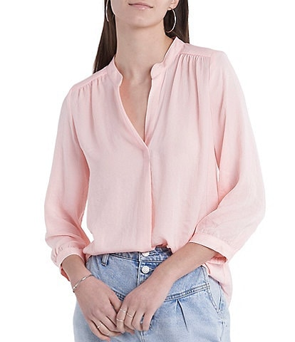 Vince Camuto 3/4 Sleeve Stand Collar Rumple Blouse