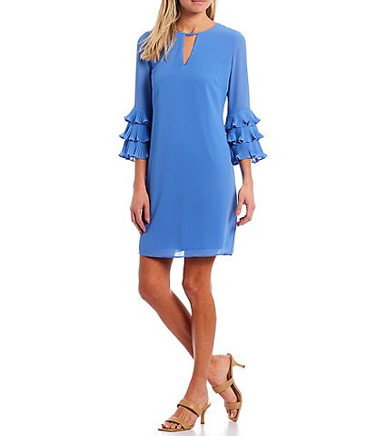 Vince Camuto 3/4 Tiered Ruffle Bell Sleeve Keyhole Shift Dress