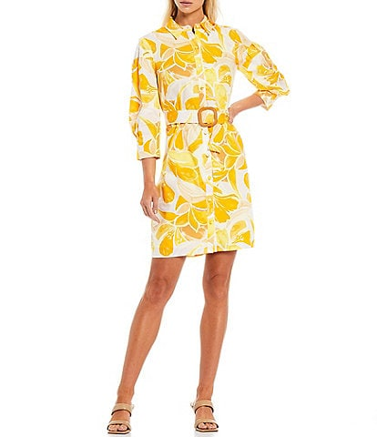Vince Camuto Abstract Button Down Shirt 3/4 Sleeve Dress