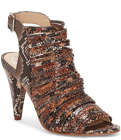 Vince Camuto Adeenta Banded Snake Print Leather Peep Toe Shooties