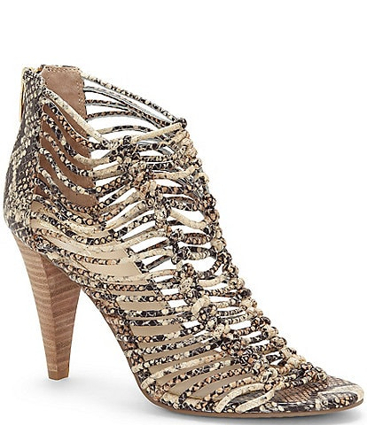 Vince Camuto Alsandra Caged Snake Print Leather Dress Sandals