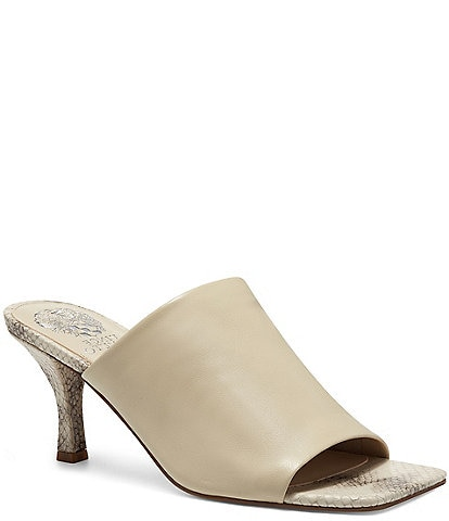 Vince Camuto Arlinala Snake Print Square Toe Leather Mules