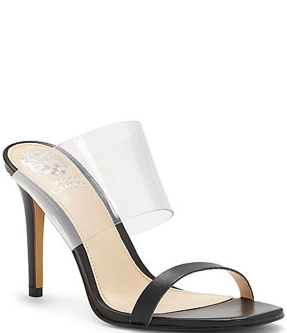 Vince Camuto Ashta Square Toe Clear Leather Lucite Heel Mules