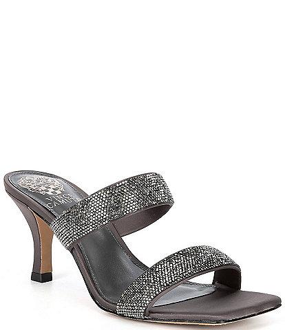 Vince Camuto Aslee Jewel Embellished Suede Square Toe Dress Slides