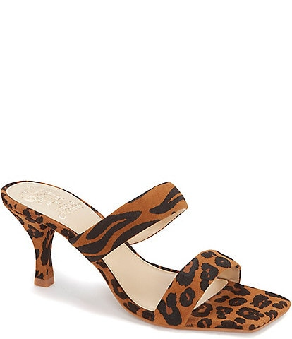 Vince Camuto Aslee Animal Print Leather Dress Mules