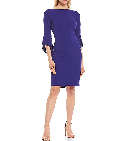 Vince Camuto Asymmetrical 3/4 Sleeve Crepe Sheath Dress