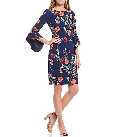 Vince Camuto Asymmetrical Sleeve Floral Sheath Dress